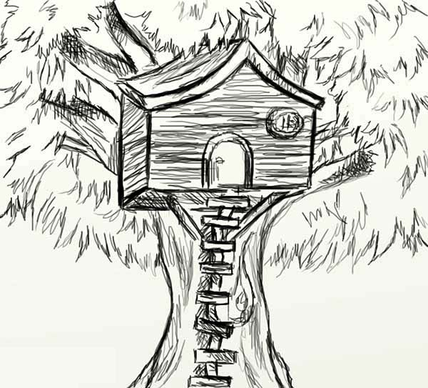 Treehouse, : Sketch of Treehouse Coloring Page