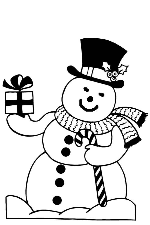 Snowman, : Snowman Bring You Present Coloring Page