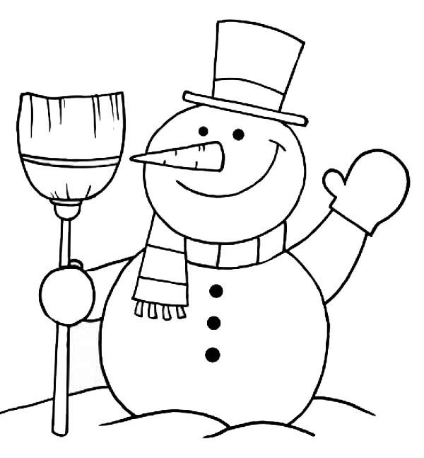 snowman shovel coloring pages - photo#7