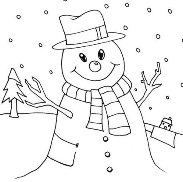 Snowman love snow rain coloring page color luna for Snowy coloring pages