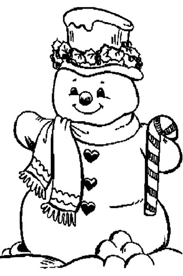 Snowman, : Snowman and Candy Cane Coloring Page
