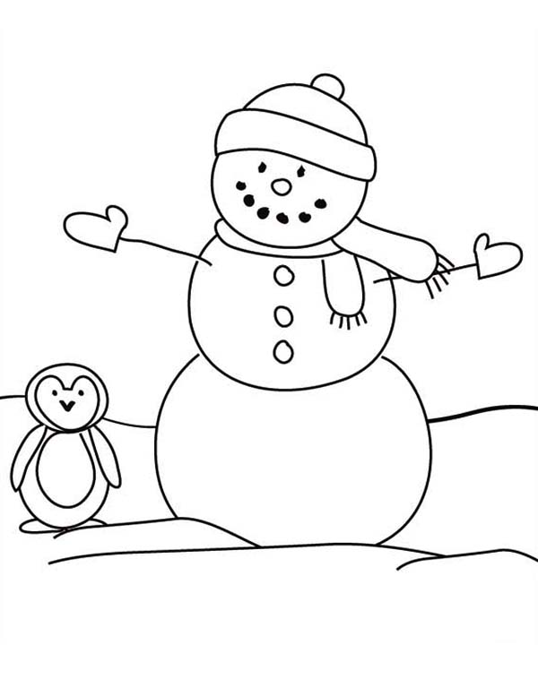 Snowman, Snowman and a Penguin Coloring Page: Snowman And A Penguin Coloring PageFull Size Image
