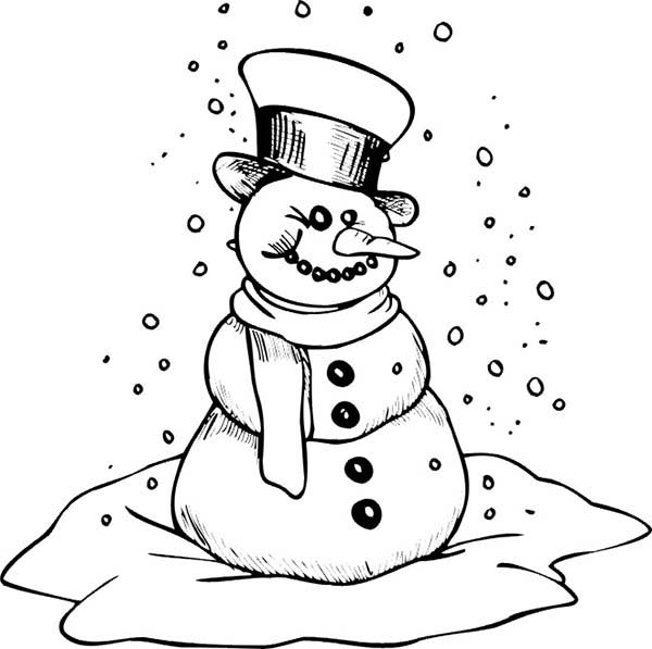 Snowman, : Snowman is Getting Cold Coloring Page