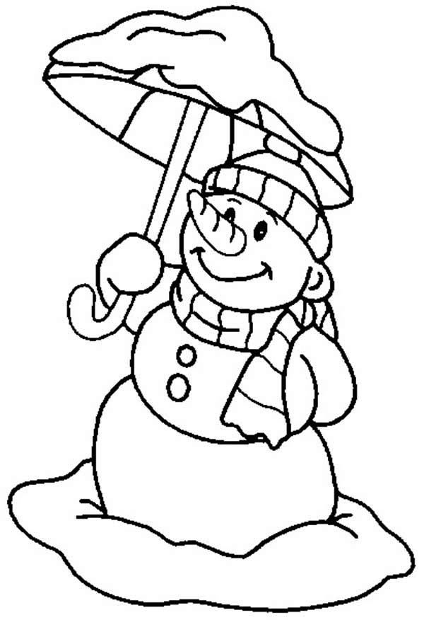 Snowman, : Snowman with Umbrella Coloring Page