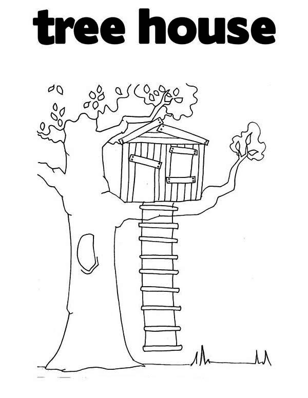 T is for Treehouse Coloring Page Color Luna