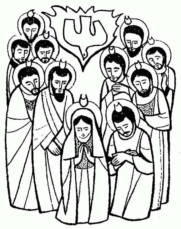 Pentecost, : The Apostles is Pray for Holy Spirit in Pentecost Coloring Page