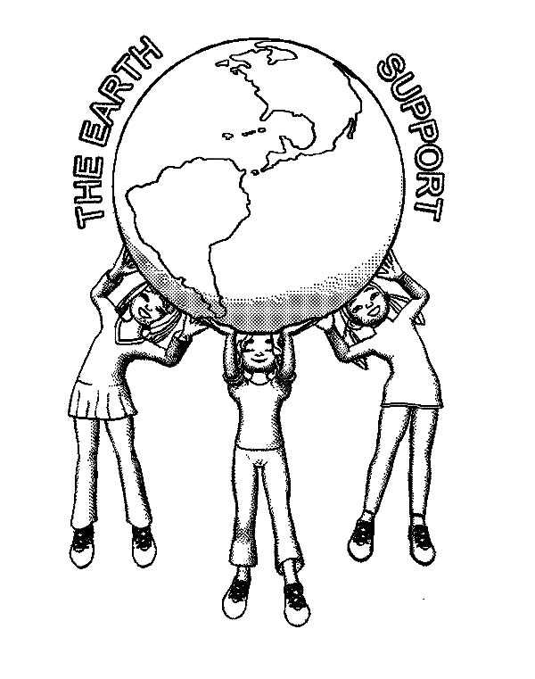 The Earth Supporter On Day Coloring Page