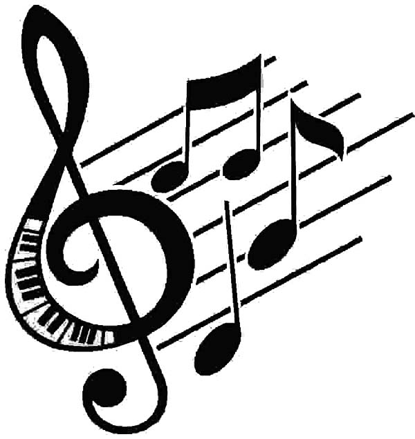 Treble Clef, : Treble Clef Forming in a Song Coloring Page