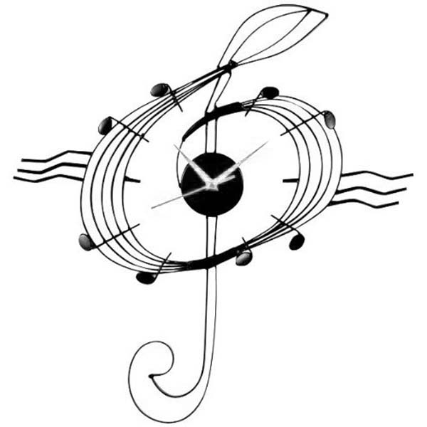 Treble Clef, : Treble Clef of Clock Coloring Page
