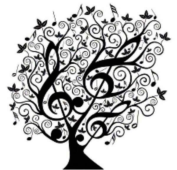 Treble Clef, : Tree of Treble Clef Coloring Page