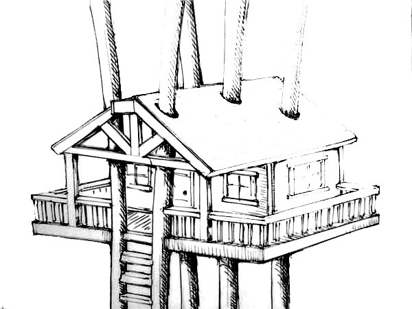 Treehouse, : Treehouse Awesome Design Coloring Page