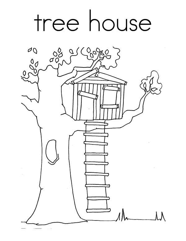 Treehouse, : Treehouse Coloring Page for Kids