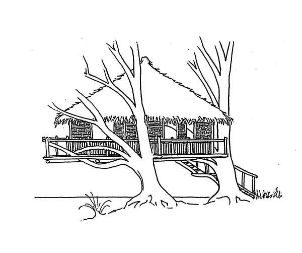 Treehouse, : Treehouse Over the Beach Coloring Page