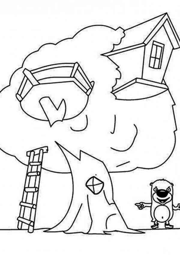 Treehouse, : Treehouse and a Beaver Coloring Page