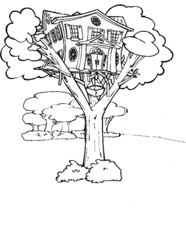 Treehouse With Elevator Coloring Page