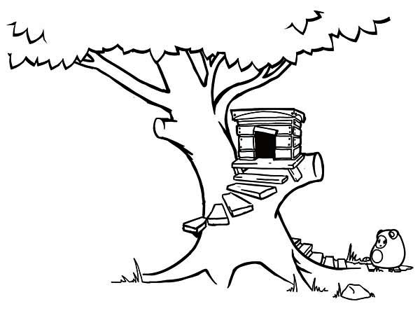 Delighful Kids Tree House Drawing Treehouse Coloring Page F And