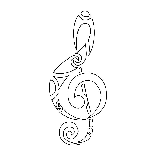 Treble Clef, : Tribal of Treble Clef Coloring Page