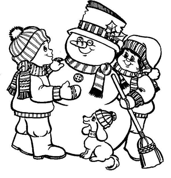 Snowman, : Two Kids and Dog Make a Snowman Coloring Page
