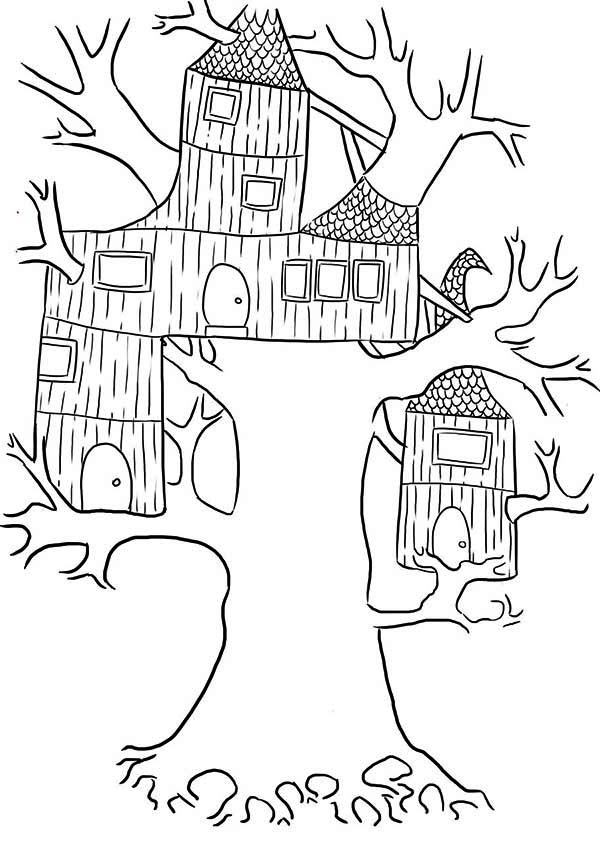 Wierd Treehouse Coloring Page | Color Luna