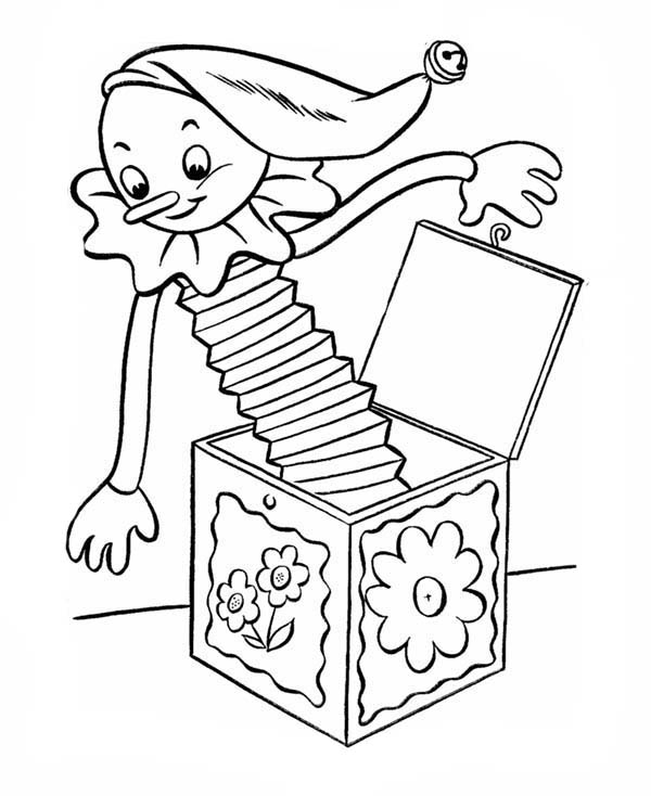 April Fools Day With Jack In The Box Coloring Page
