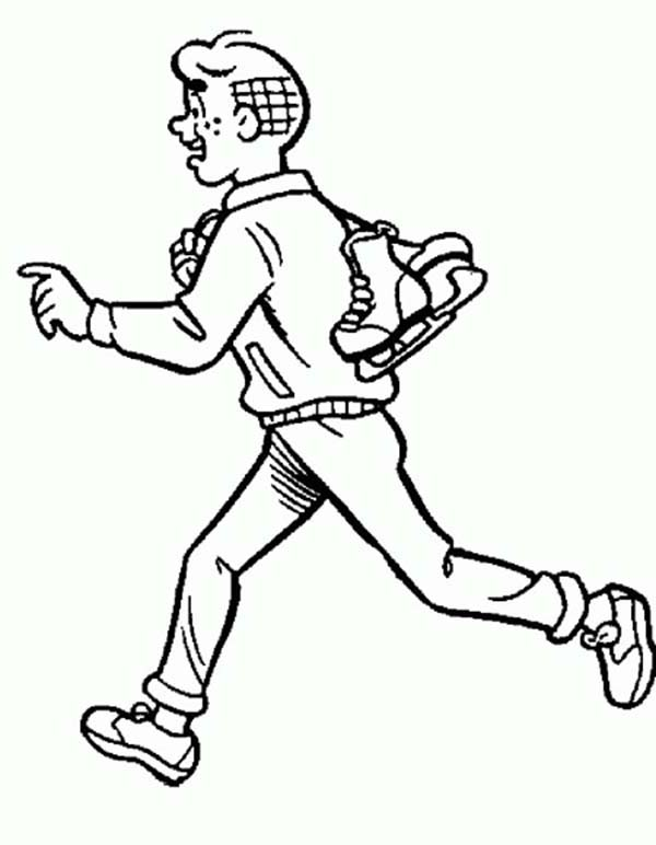 Archie, : Archie Running while Bring His Skiing Shoes Coloring Page