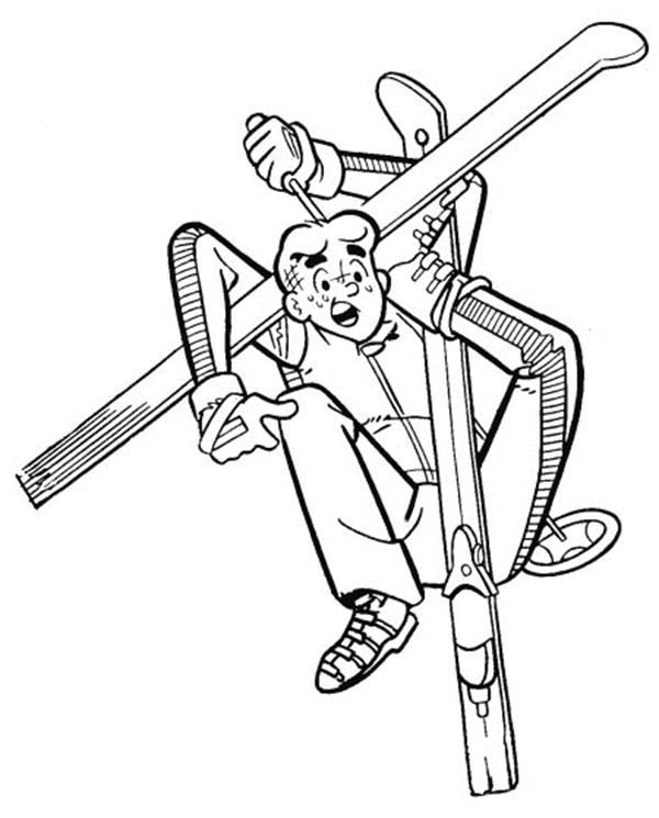 Archie, : Archie Stuck on His Skiing Equipment Coloring Page