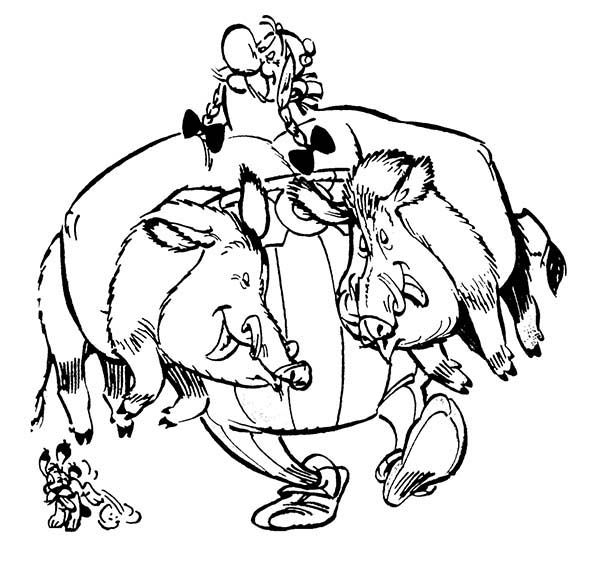 Asterix, : Asterix Friend Obelix Catch Two Wild Boar Coloring Page
