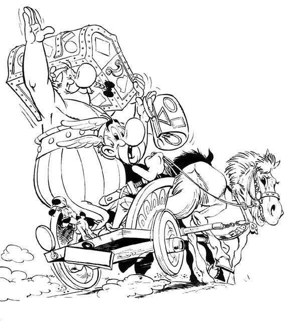 Asterix, : Asterix and Obelix Ride Horse Carriage in the Adventure of Asterix Coloring Page