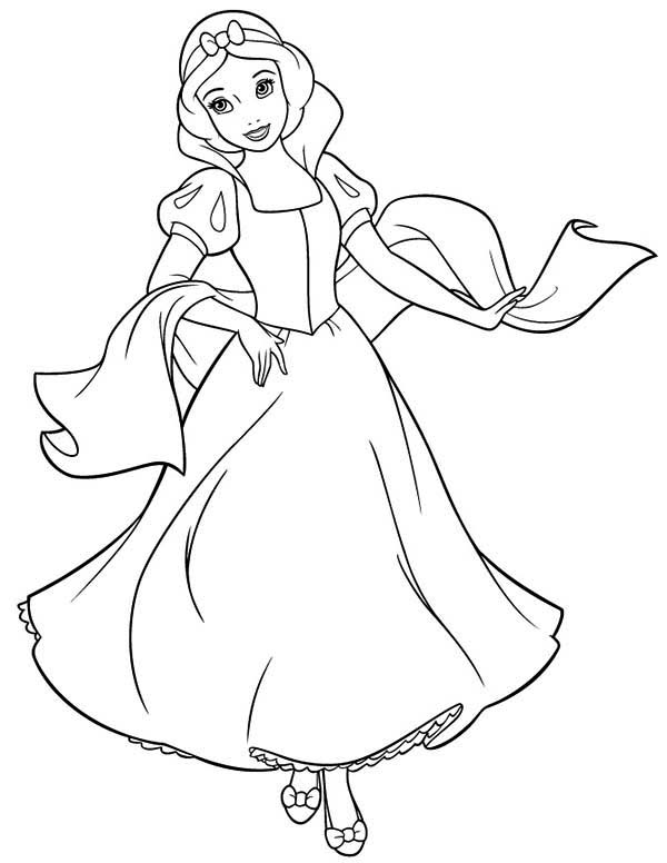 Snow White, : Beautiful Snow White Coloring Page