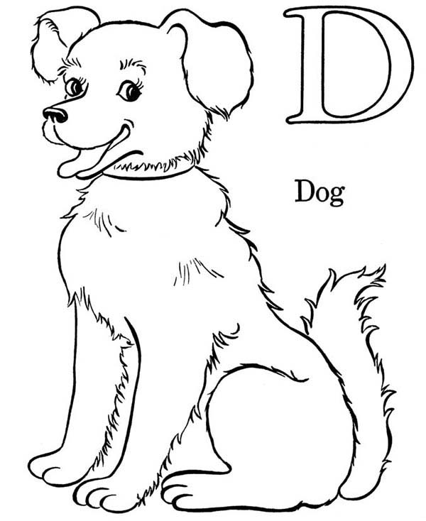 Dogs, : D is for Dog Coloring Page