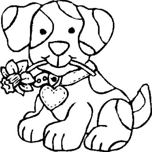 Dogs, : Dog Bite a Flower Coloring Page