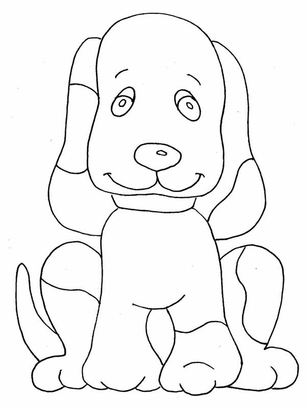 Dogs, : How to Draw a Dog Coloring Page
