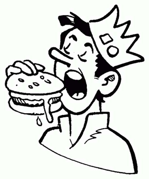 Jughead eating hamburger in archie comics coloring page