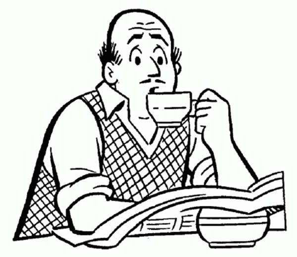Mr Fred Andrews Drinking Coffee In Archie Comics Coloring Page