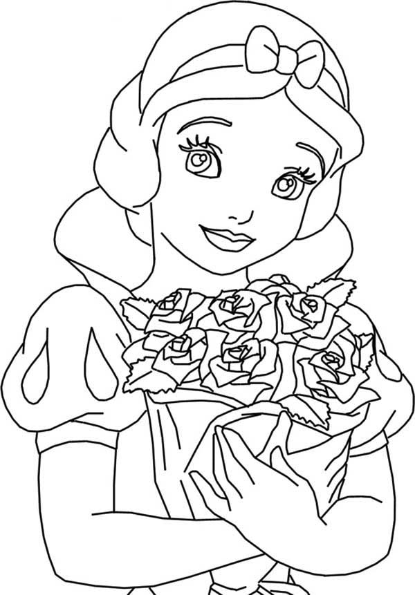 Snow White, : Snow White Holding Bouquet of Rose Coloring Page