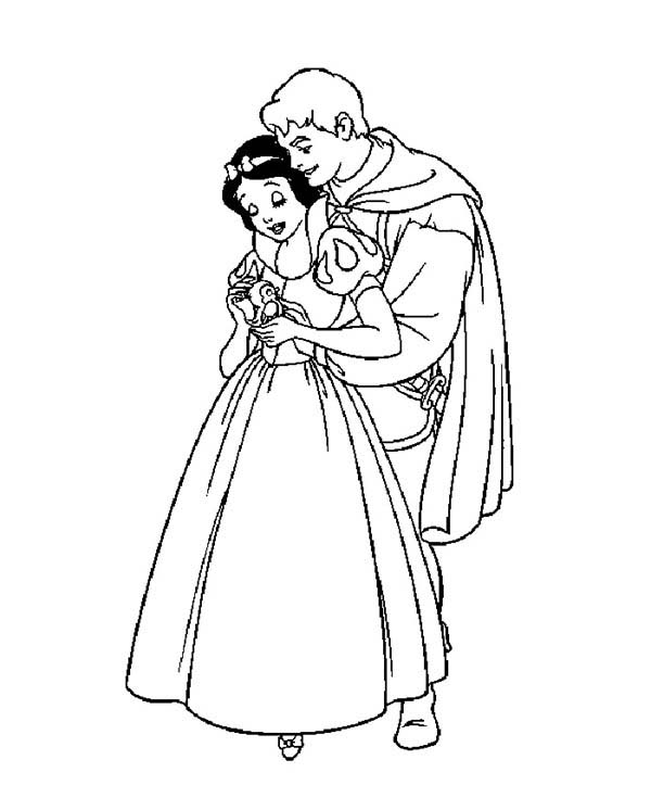 Snow White, : Snow White Hugged by Prince Coloring Page