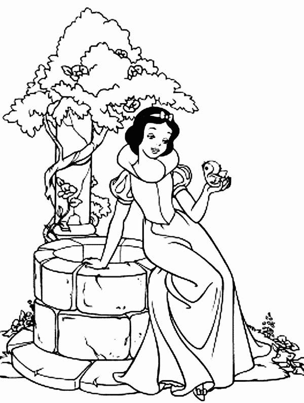 Snow White Sitting on the Side of Well Coloring Page | Color Luna