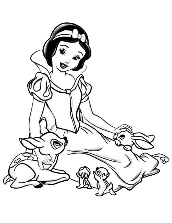 snow white talking to her jungle friends coloring page