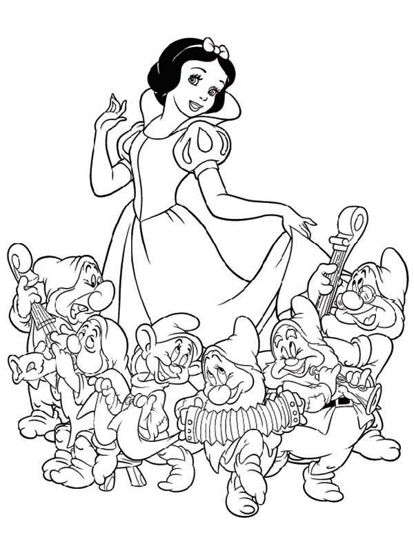 Snow white and seven dwarfs the movie coloring page for Snow white coloring pages