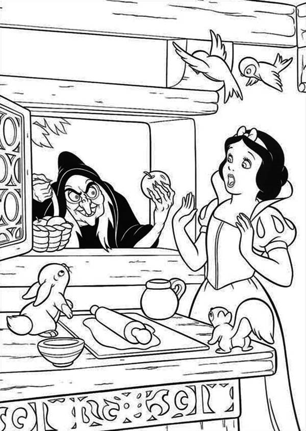 Snow White, : Snow White is Surprised to See Witch at Her Window Coloring Page