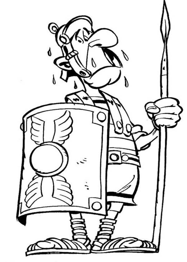 Asterix, : Terrified Roman Soldier in the Adventure of Asterix Coloring Page