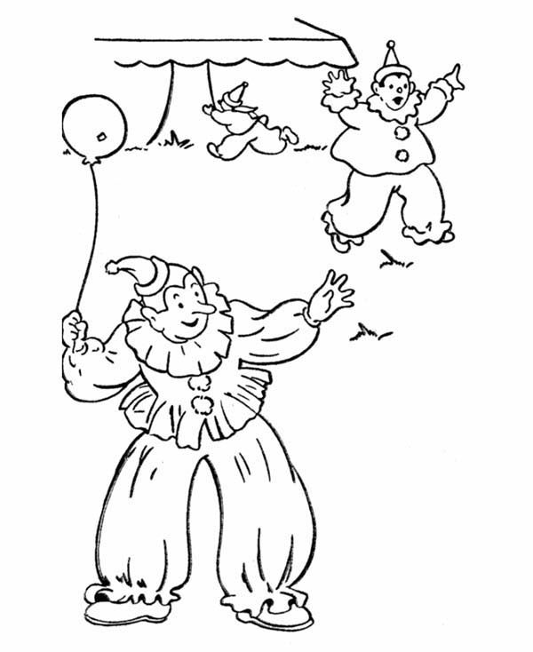 April fools, : Three Clowns on April Fools Day Coloring Page