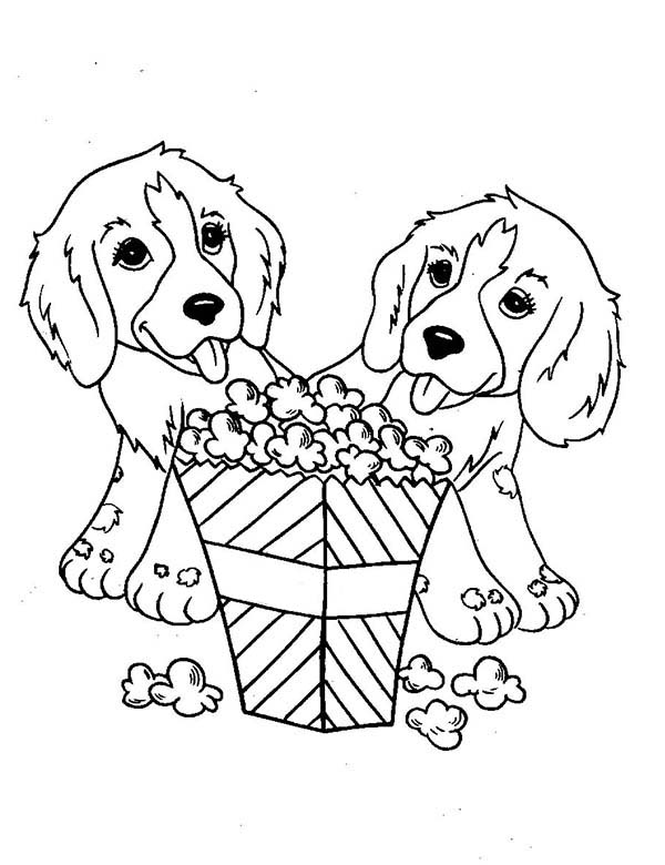 Dogs, : Two Little Dog Eating Popcorn Coloring Page