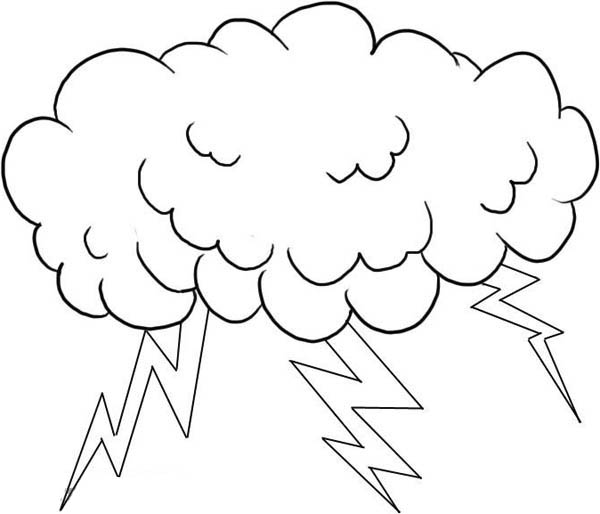 Lightning Bolt, : A Cloud Full of Lighting Bolt Coloring Page