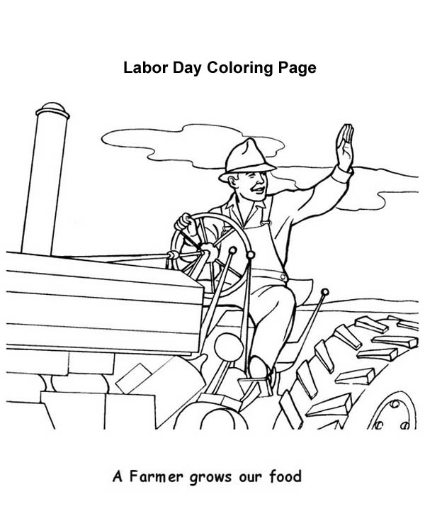 Labor Day, : A Farmer Grows Out Food in Labor Day Coloring Page