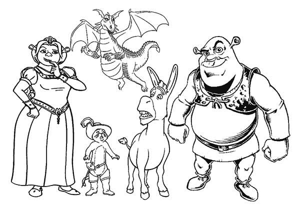 Shrek, : All the Shrek Movie Characters Coloring Page