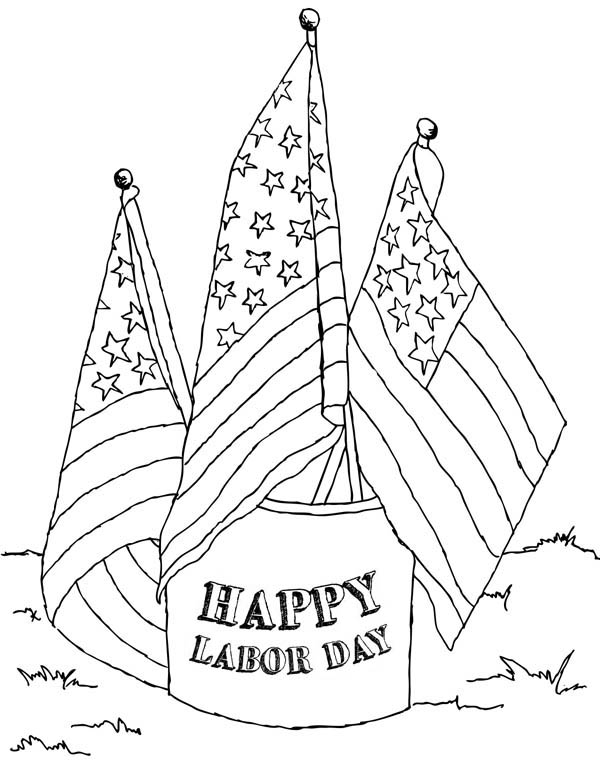 American Labor Day Coloring Page Color Luna