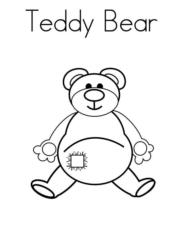 Teddy Bear, : An Old Teddy Bear Coloring Page