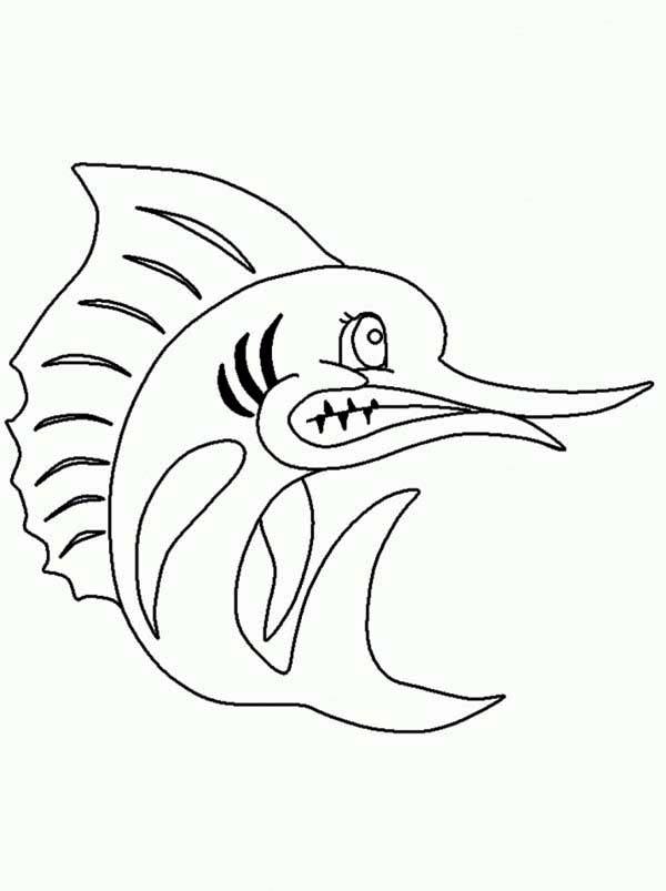 Angry Swordfish Coloring Page