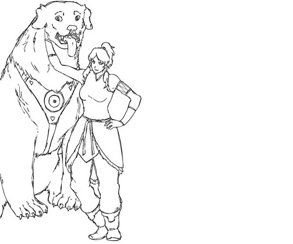 The Legend of Korra, : Avatar Korra and Naga Coloring Page